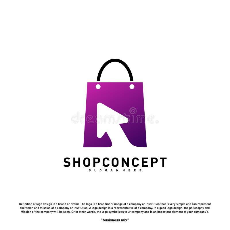 Online- shoppa Logo Design Concept Online-köpcentrum Logo Vector Online-lager- och gåvasymbol vektor illustrationer