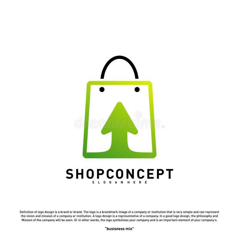 Online- shoppa Logo Design Concept Online-köpcentrum Logo Vector Online-lager- och gåvasymbol royaltyfri illustrationer