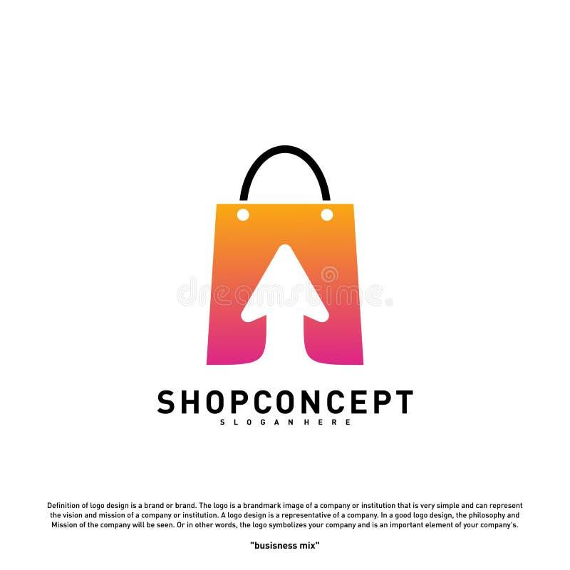 Online- shoppa Logo Design Concept Online-köpcentrum Logo Vector Online-lager- och gåvasymbol stock illustrationer