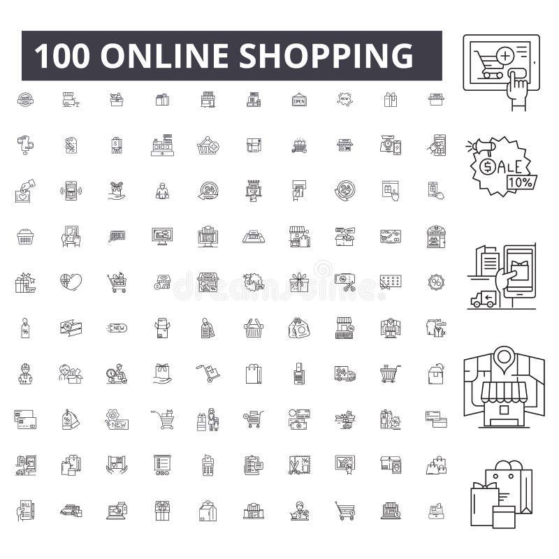 Online-shoppa redigerbar linje symboler, uppsättning för 100 vektor, samling Online-shoppa svarta översiktsillustrationer, tecken royaltyfri illustrationer