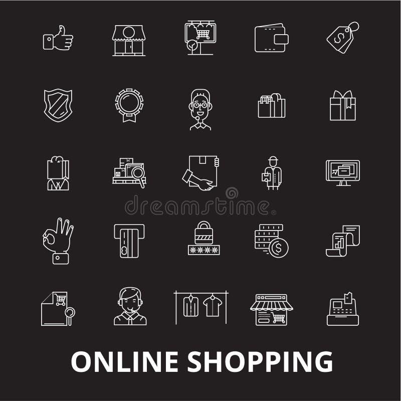 Online-shoppa redigerbar linje symbolsvektoruppsättning på svart bakgrund Online-shoppa vita översiktsillustrationer, tecken royaltyfri illustrationer