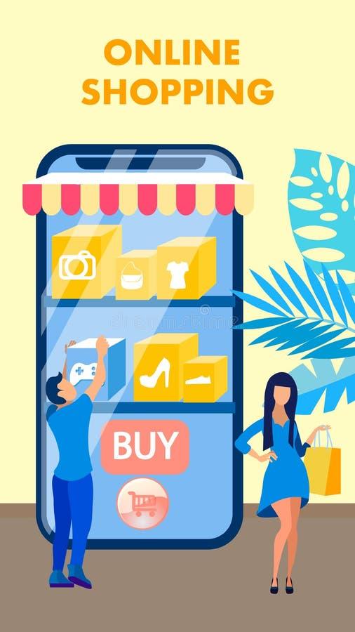 Online-shoppa reklamblad, broschyrvektorbegrepp royaltyfri illustrationer