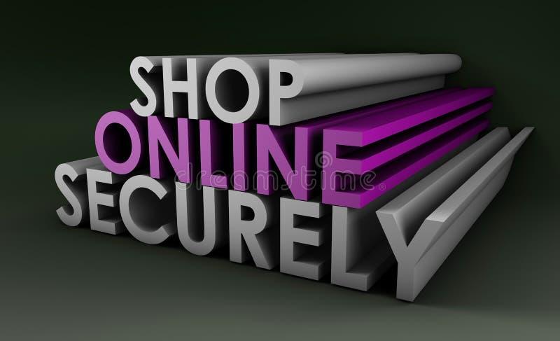 online shoppa säkert vektor illustrationer
