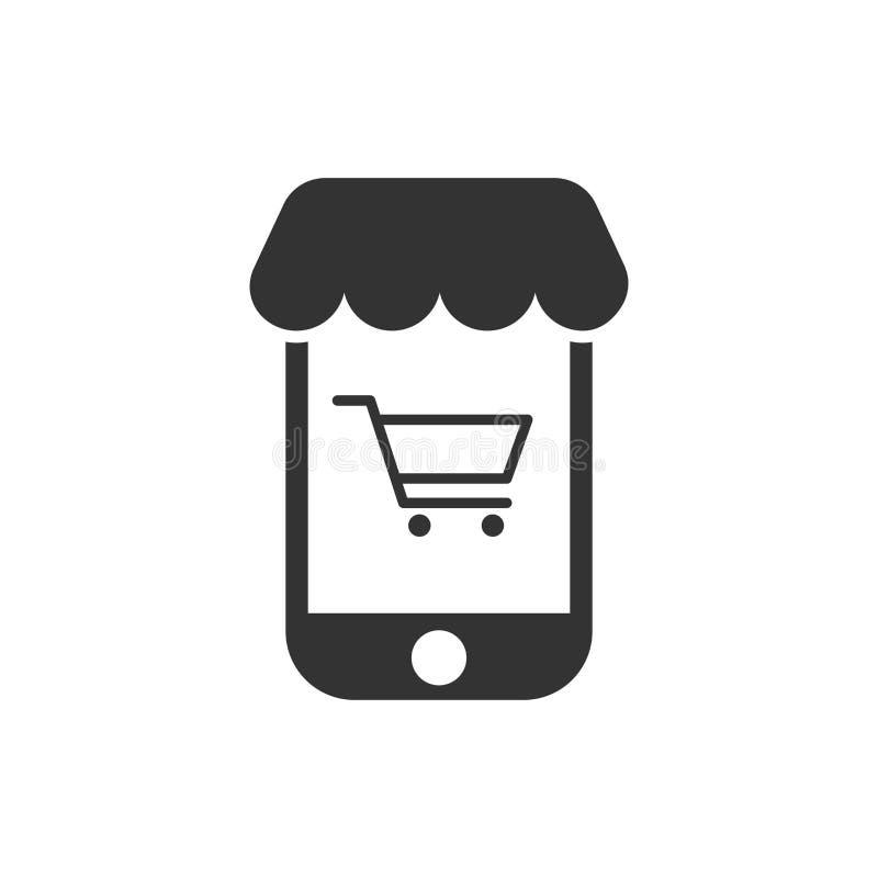 Online-shoppa symbol i plan stil Illustration för Smartphone lagervektor på vit isolerad bakgrund Marknadsaffärsidé vektor illustrationer