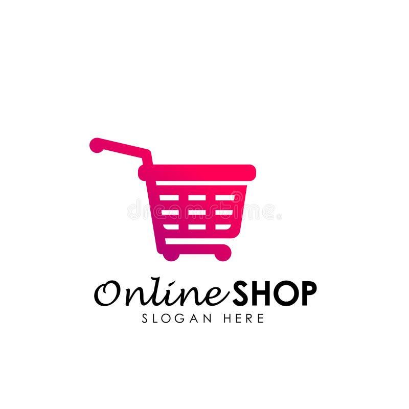 online- shoppa symbolen för logodesignvektorn design för logo för shoppingkorg stock illustrationer