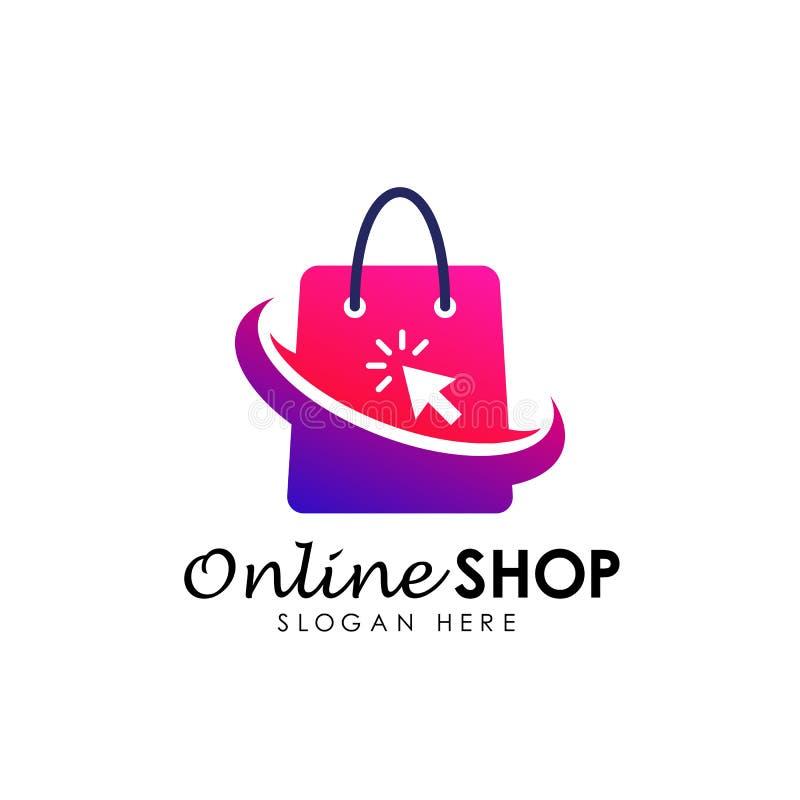online- shoppa symbolen för logodesignvektorn Shopping Logo Design vektor illustrationer