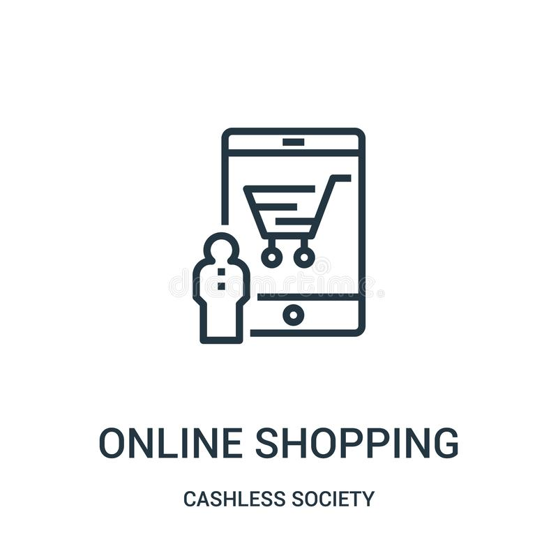 online-shoppa symbolsvektor från cashless samhällesamling Tunn linje online-shoppa illustration för översiktssymbolsvektor royaltyfri illustrationer