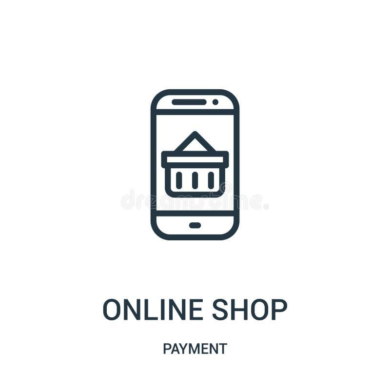 online- shoppa symbolsvektorn fr?n betalningsamling Den online-tunna linjen shoppar illustrationen f?r ?versiktssymbolsvektorn stock illustrationer