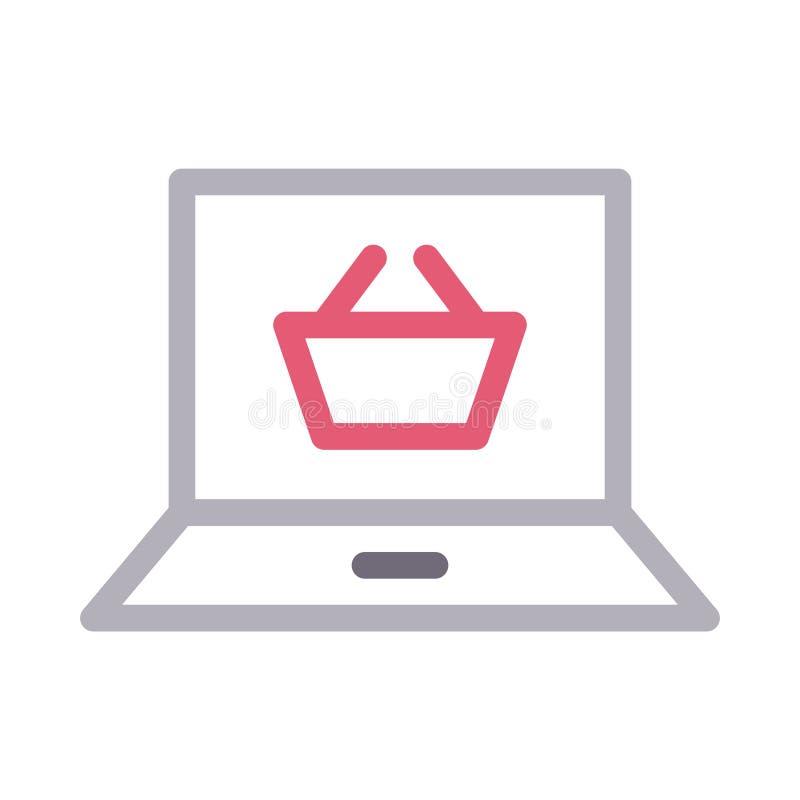 Online-shoppa tunn färglinje vektorsymbol stock illustrationer
