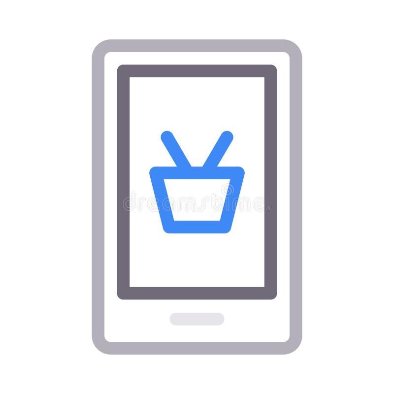 Online-shoppa tunn f?rglinje vektorsymbol royaltyfri illustrationer
