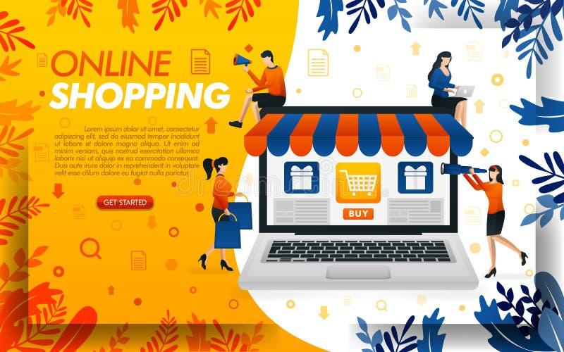 Online-shoppa websitedesign folket shoppar direktanslutet med b?rbara datorer, begreppsvektorilustration anv?nda f?r och att land royaltyfri illustrationer