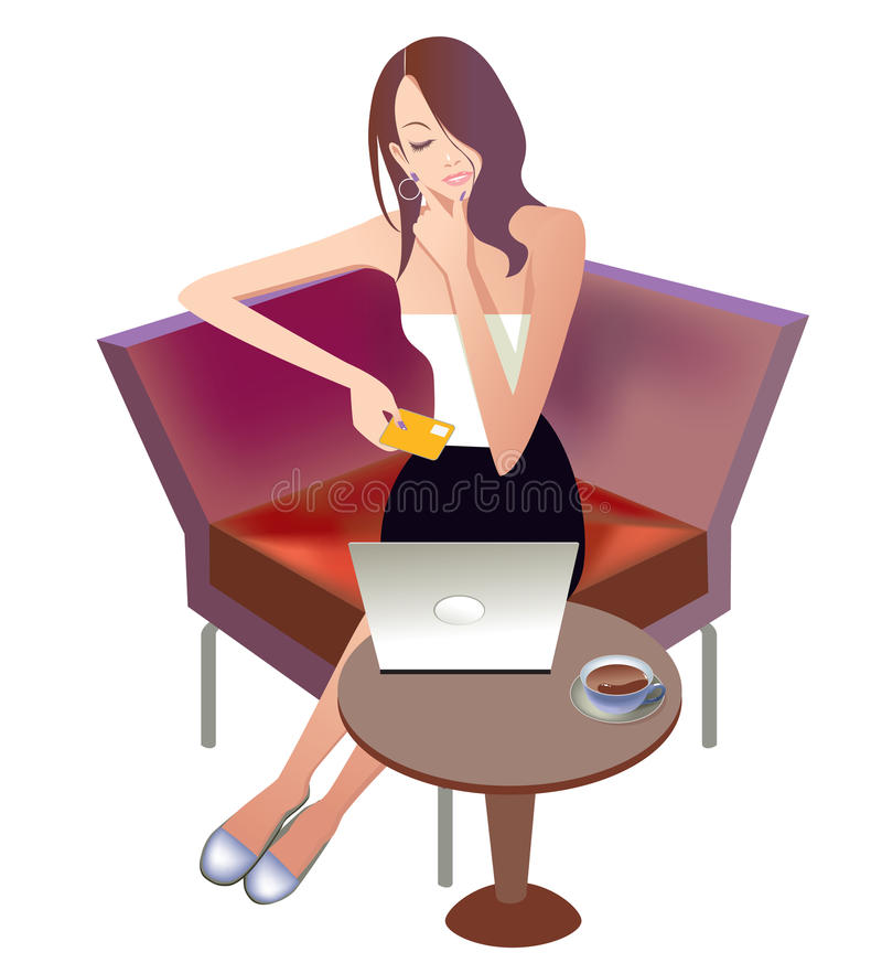 Download Online shopping stock vector. Image of female, online - 10963730