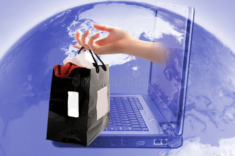 Online shopping. Retail shopping bag coming out of computer with world in background