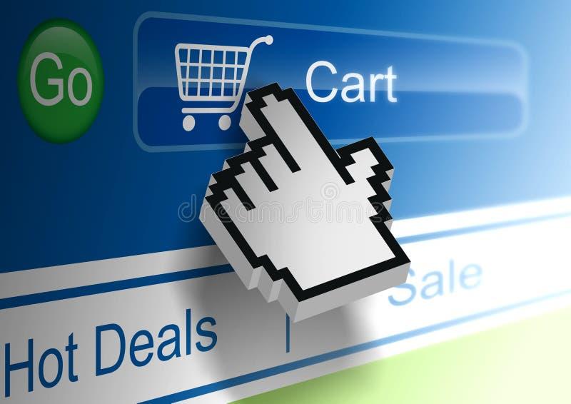 Online Shopping. Shopping Online hitting Cart button