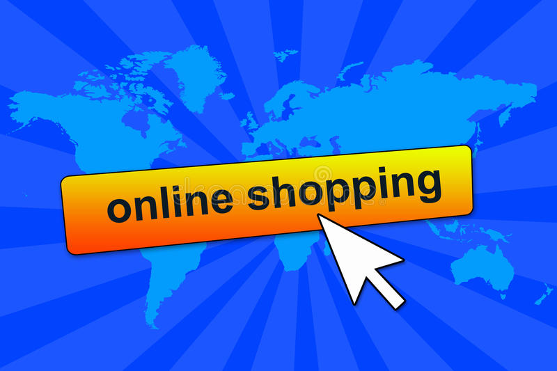 Online shopping. Connecting to internet and shopping online royalty free illustration