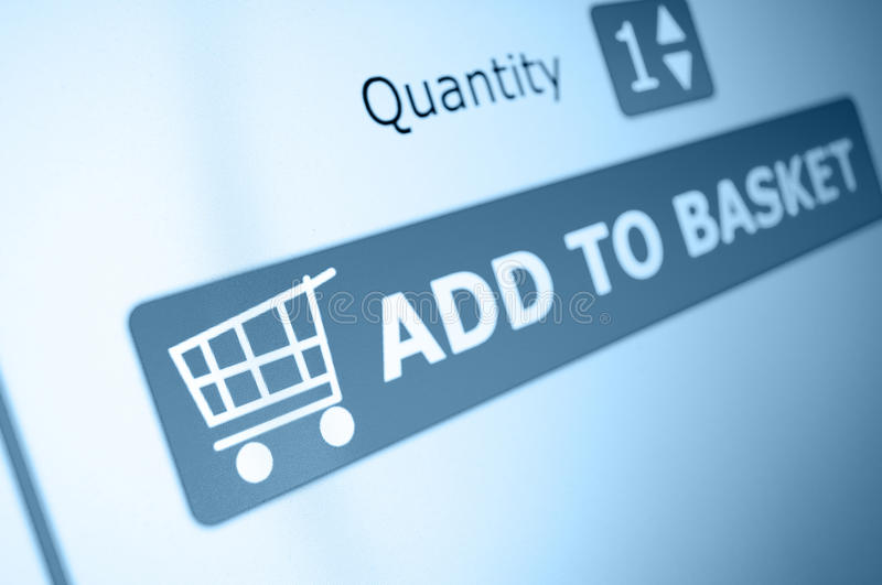 Online Shopping. Add To Basket Button On LCD Screen