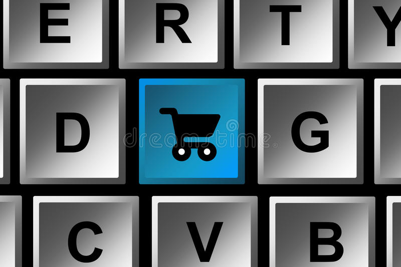 Online shopping. E-commerce and doing online shopping on your computer stock illustration