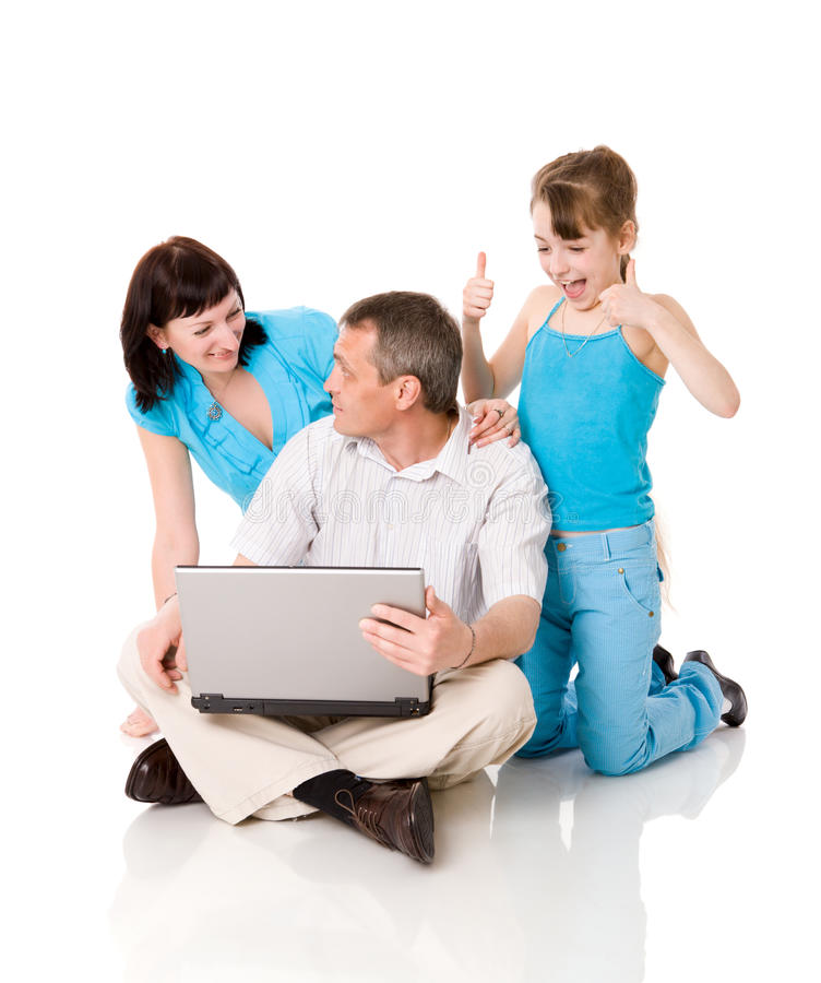 Online shopping. Family making Online shopping isolated
