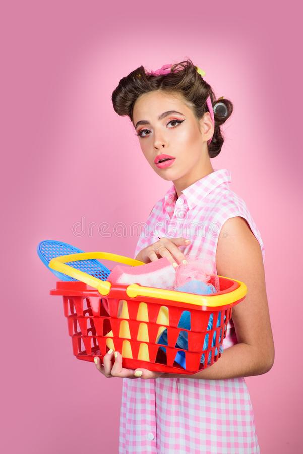 Online shopping app. retro woman go shopping with full cart. savings on purchases. happy girl enjoying online shopping stock photo