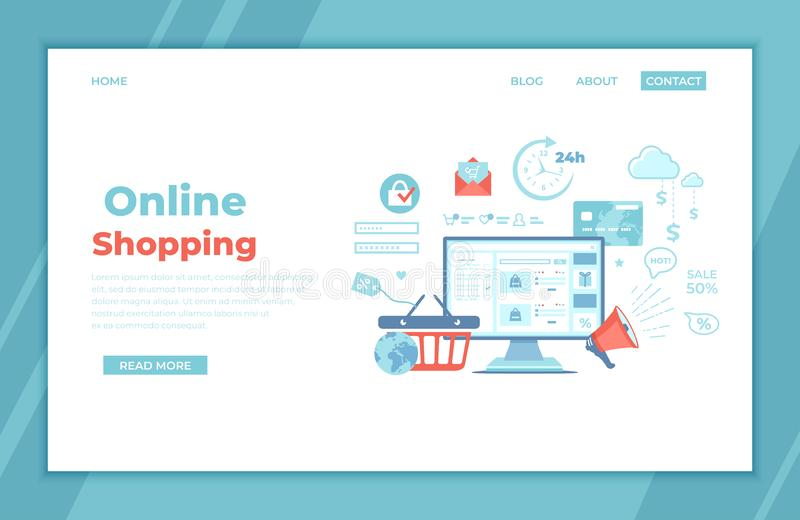 Online Shopping, Application, Service, Banking. Online store website on the monitor screen, basket, cart, credit card, megaphone. Discount Sale Infographic royalty free illustration