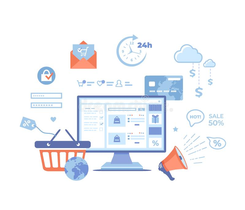 Online Shopping, Application, Service, Banking. Online store website on the monitor screen, basket, cart, credit card, megaphone,. Discount, sale, infographic vector illustration