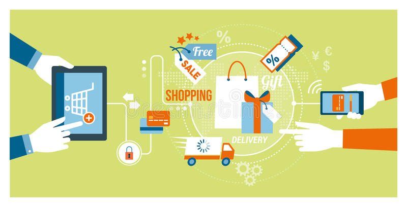 Online shopping and apps. Online shopping and technology concept: users buying products and gifts online using a tablet and a smartphone stock illustration