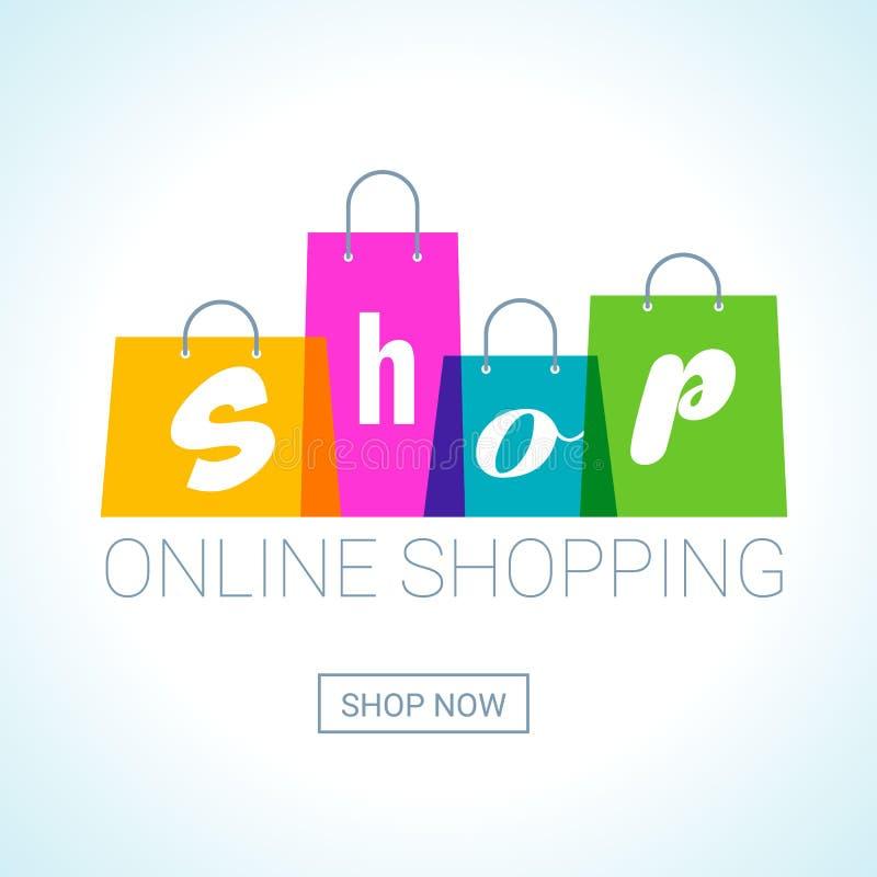 Online shopping. Shopping Bags logo. Internet shop concept. Online shopping. Shopping Bags logo with shop inscription. Internet shop concept. Vector royalty free illustration