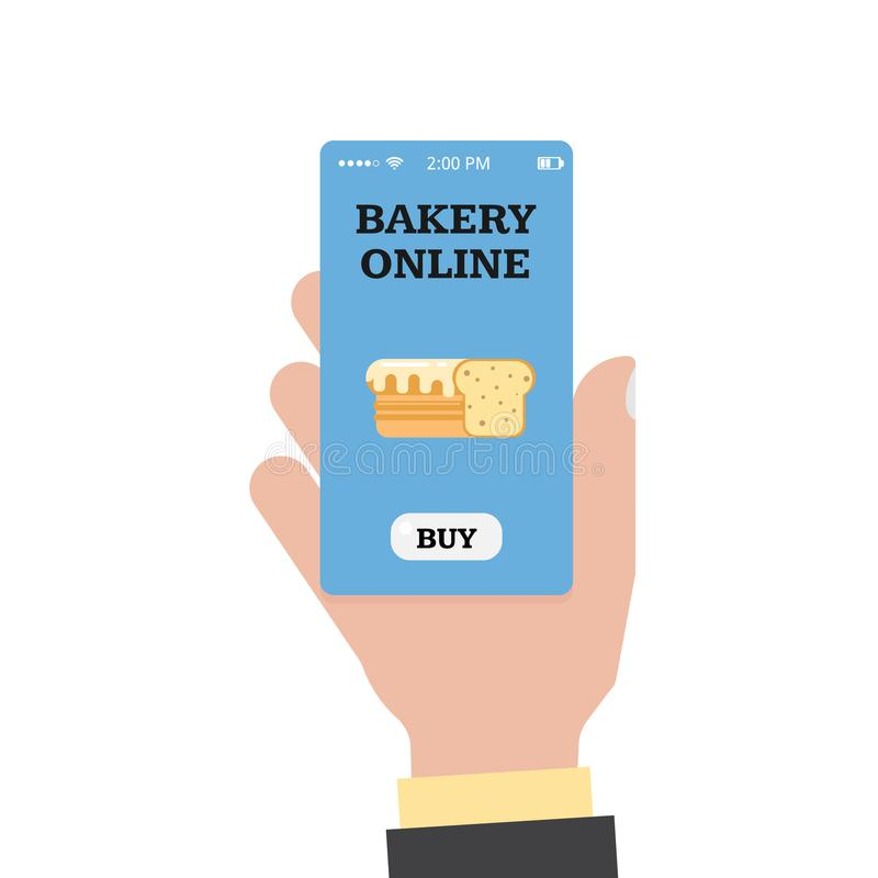 Online shopping in the bakery. Online bakery. Store and hand with a smartphone. Smartphone app. Vector flat royalty free illustration