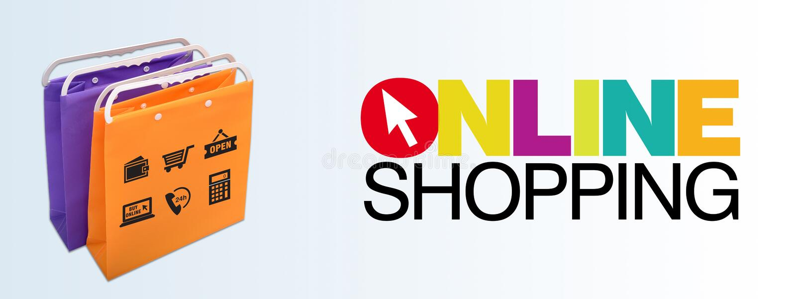 Online shopping banner with bags and icons stock image for Design scandinavo shop online