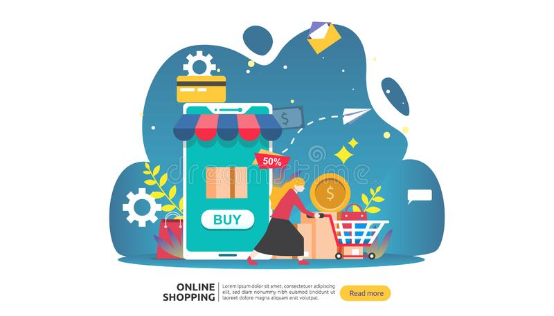 Online shopping banner. Business concept for Sale e-Commerce with smartphone and tiny people character. template for web landing royalty free illustration
