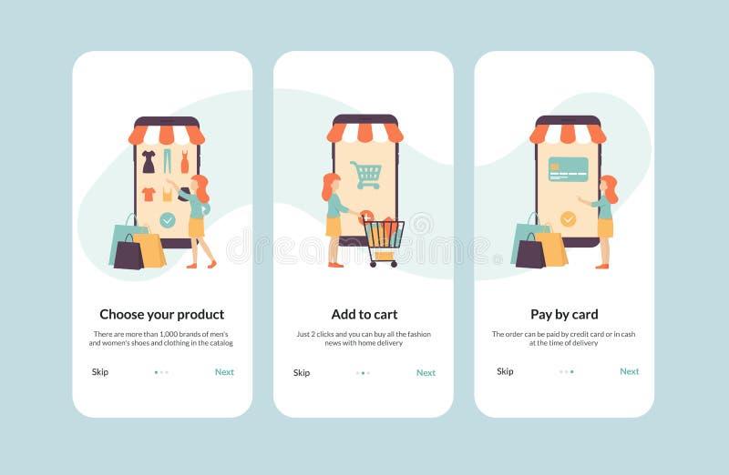 Onboarding shopping, banner, app templates. Online shopping banner, mobile app templates, concept flat vector illustration design, onboarding for online shop stock illustration