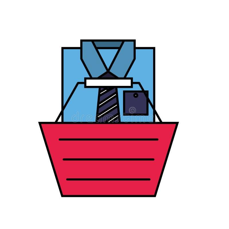 Online shopping basket male shirt clothes. Vector illustration royalty free illustration