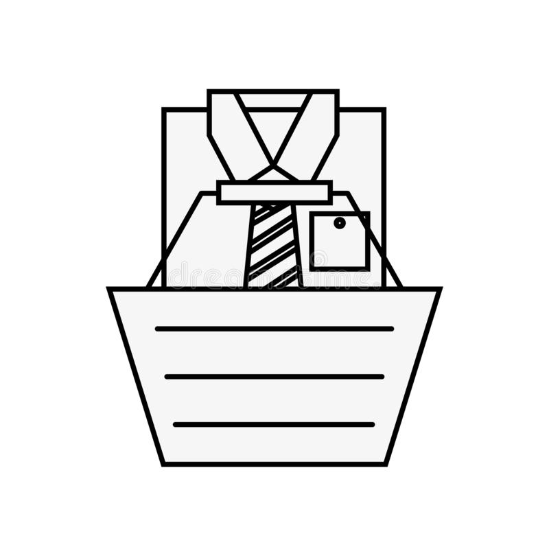 Online shopping basket male shirt clothes. Vector illustration outline vector illustration