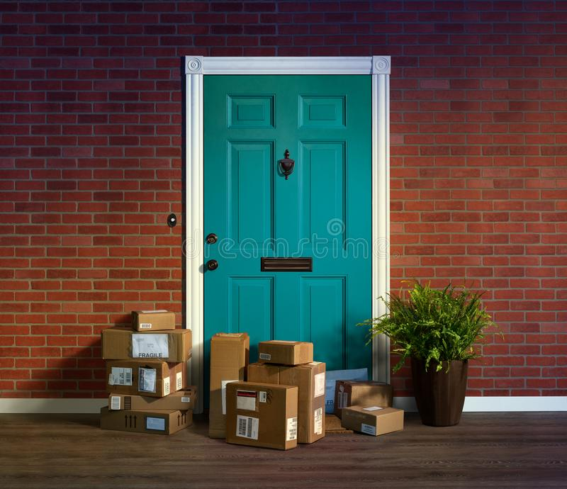 Online purchases boxes delivered and stacked at your front door. Online shopping, boxes delivered and stacked at your front door are easy to steal when nobody is stock images
