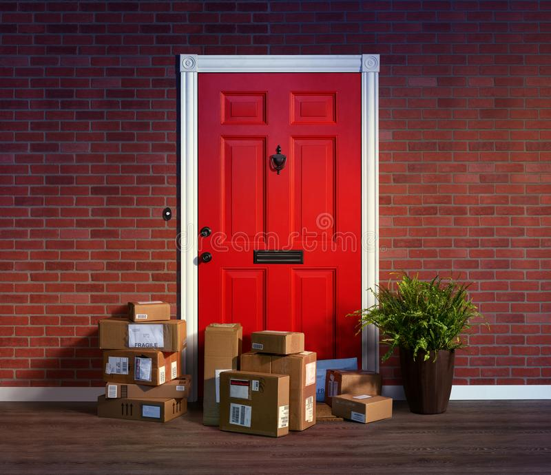 Online purchases boxes delivered and stacked at your front door. Online shopping, boxes delivered and stacked at your front door are easy to steal when nobody is royalty free stock image
