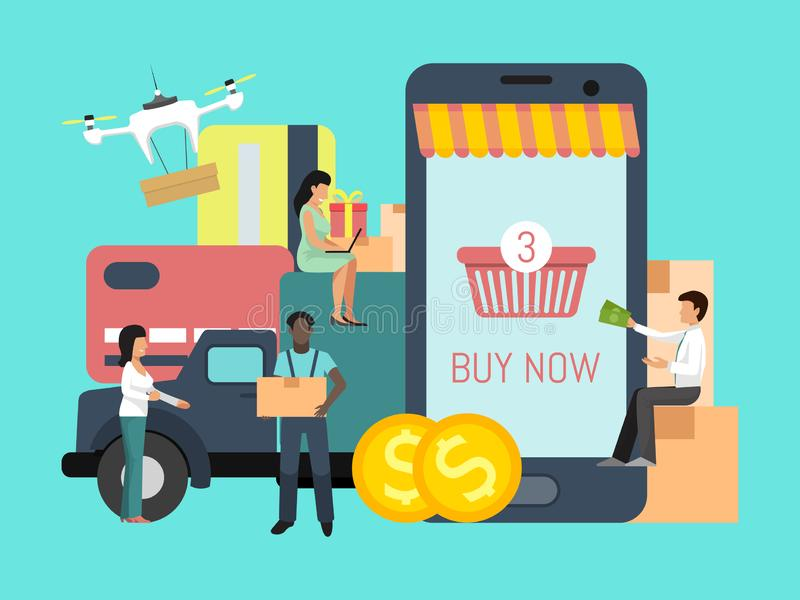 Online shopping cargo tracking app. People with money are waiting online supply background big boxes, truck and credit royalty free illustration
