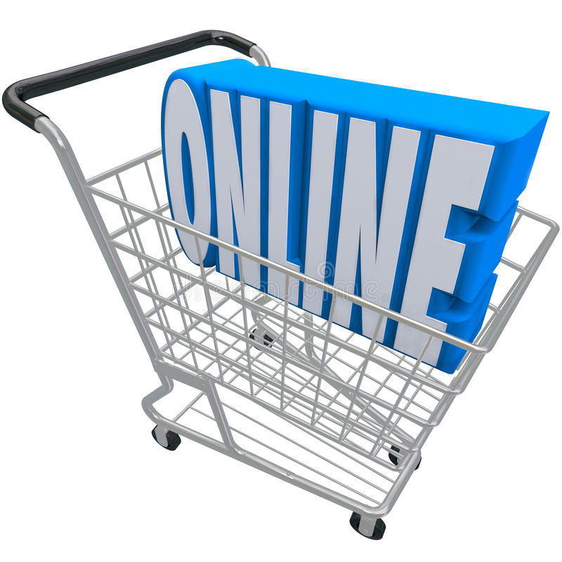 Online Shopping Cart Basket Word Internet Web Store. A shopping cart or basket with the word Online inside it to represent e-commerce, internet purchasing, or a stock illustration