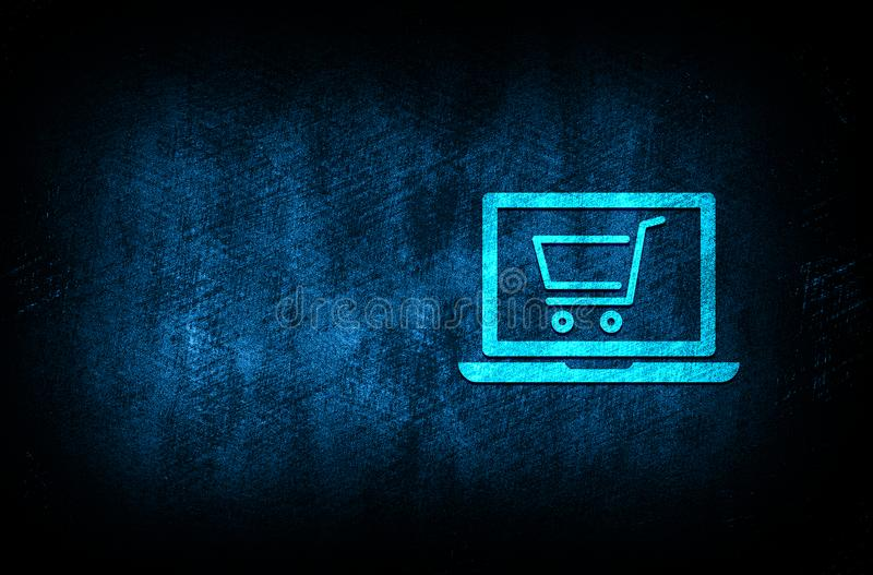 Online shopping cart laptop icon abstract blue background illustration digital texture design concept. Online shopping cart laptop icon abstract blue background royalty free illustration