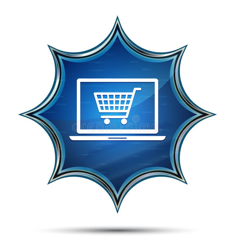 Online shopping cart laptop icon magical glassy sunburst blue button royalty free illustration