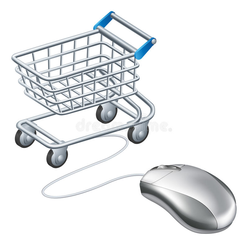Online shopping cart mouse. Concept, a mouse connected to a shopping trolley, concept for online shopping royalty free illustration
