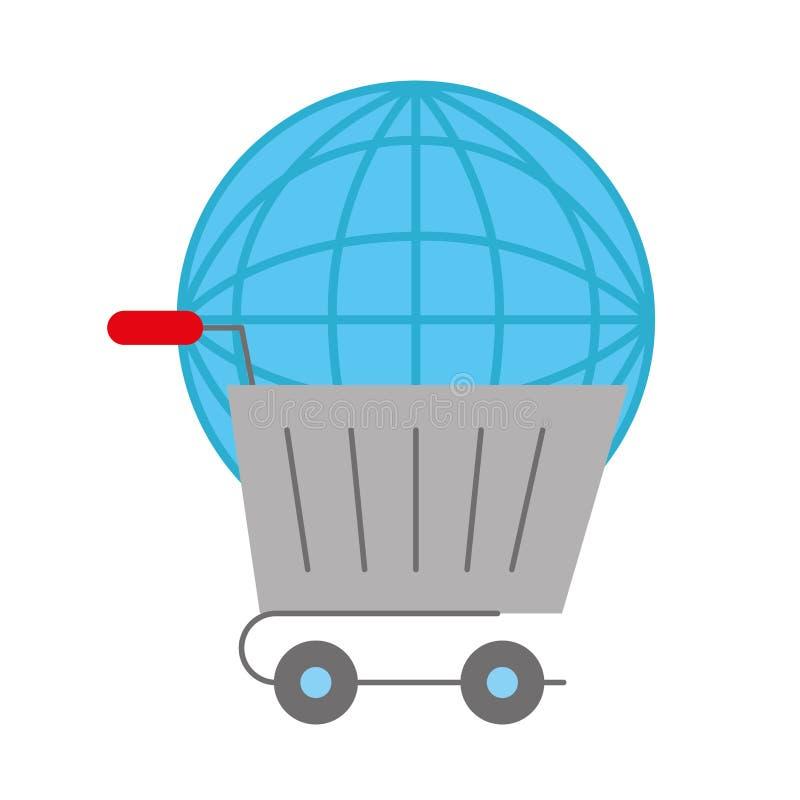 Online shopping cart world logistic. Vector illustration stock illustration