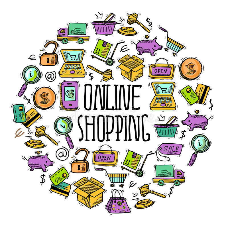 Online shopping circle. E-commerce online shopping decorative icons sketch set in circle shape vector illustration royalty free illustration