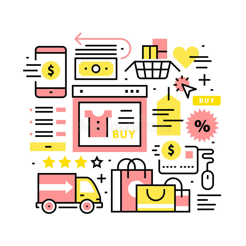 Online shopping collage. Thin line art icons royalty free illustration