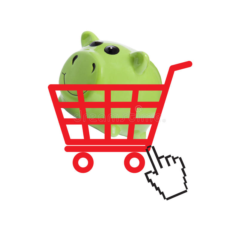 Online shopping concept. Shopping basket and piggy bank inside with hand cursor vector illustration