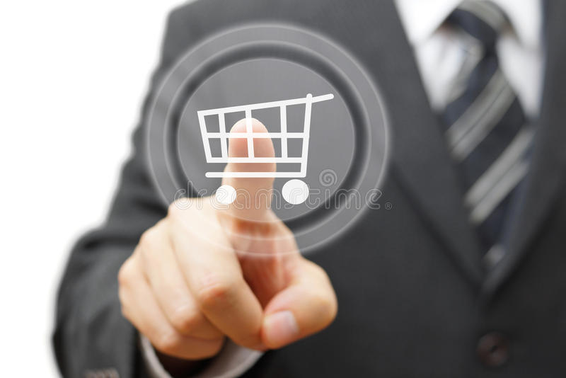 Online shopping concept with businessman touching virtual shopp royalty free stock photos