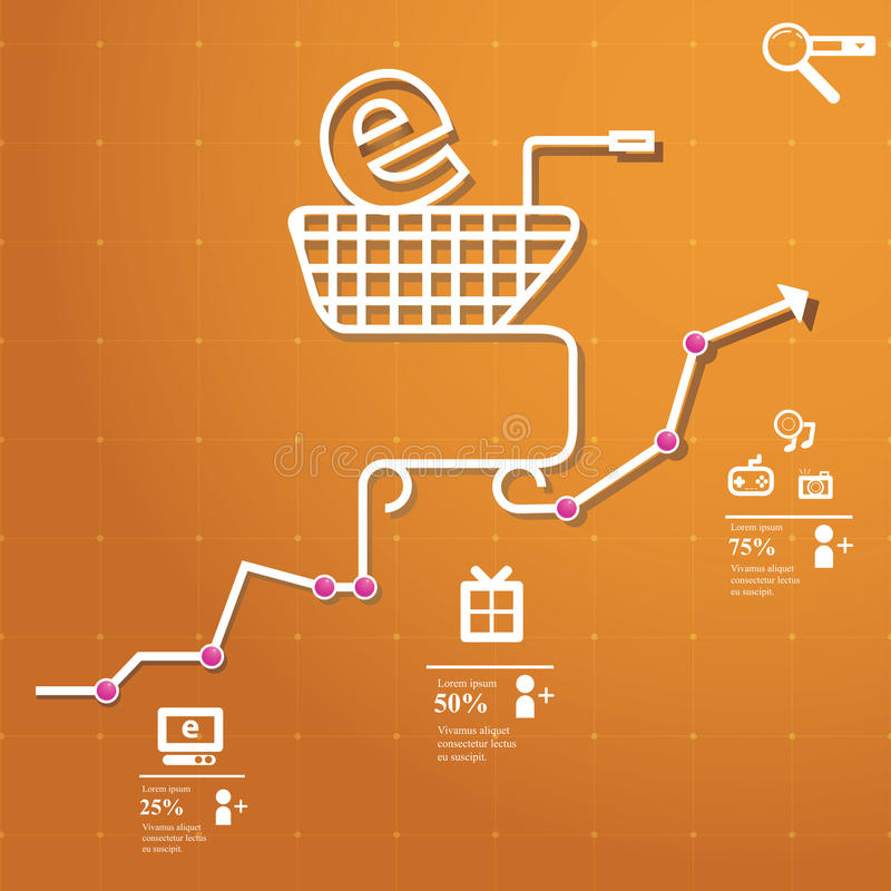 Online Shopping. Concept chart online shopping whit simple icons stock illustration