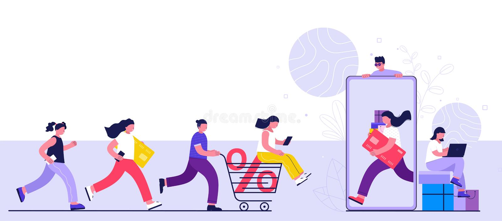 Online shopping concept, consumerism and people. Young people women and men make purchases using a smartphone, laptop. Landing page template vector illustration