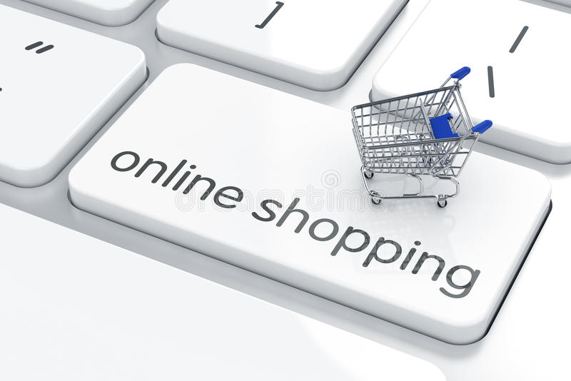Online shopping concept. 3d render of shopping cart icon on the keyboard. Online shopping concept stock illustration