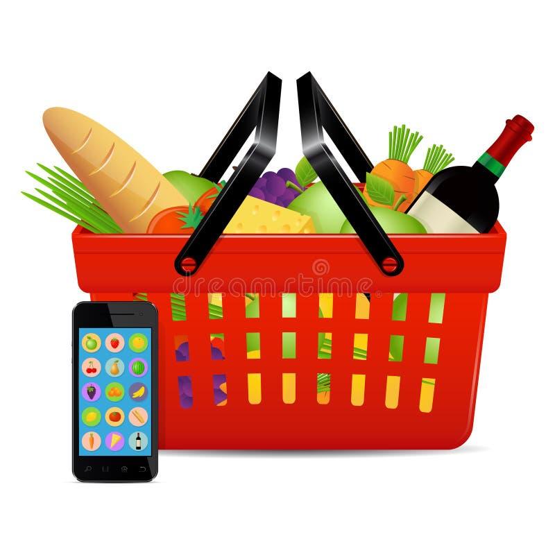 Online shopping concept. Food ordered online with use of smart phone. Online shopping concept vector illustration