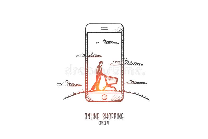 Online shopping concept. Hand drawn isolated vector. vector illustration